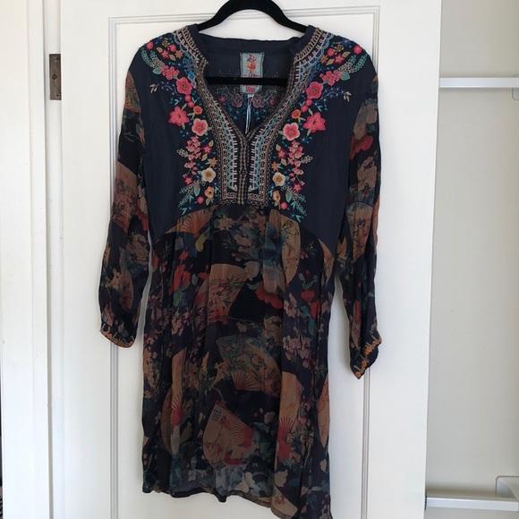 Johnny Was Norah Denim Large Hobo Handbag Bag Flower Floral Large Embroidery New
